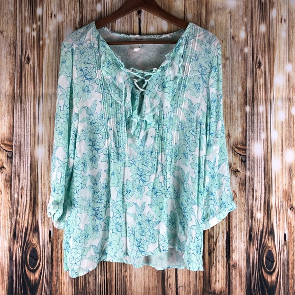 Soieblu Tops - Soieblu Top Floral Blouse Size Large